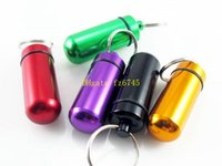 Wholesale Pill Bottle Case - 100pcs lot Fast shipping Aluminum Pill Box Case Bottle Holder Container Keychain Key Chain Key Ring Pill storage Jar