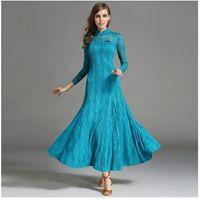 Wholesale Women Satin Cheongsam - 2018 Chiese style cheongsam blue lace ballroom dress woman pink competition standard dance dresses green flamenco waltz dance dress