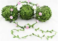 ingrosso fascia di ghirlanda artificiale del fiore-Nuovissimo fiore verde artificiale foglie rattan fai da te ghirlanda accessorio per la decorazione domestica hairbands fascia hairflowers
