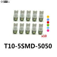 ampoule à xénon led blanche 194 achat en gros de-10X T10 5SMD DC 12V 1W 5050 5 SMD 192 168 194 W5W blanc / bleu / rouge / vert / jaune / rose Lumière au xénon LED côté ampoule Wedge Lampe pour voiture