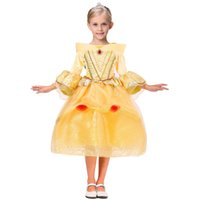 Wholesale Chiffon Pleated Gauze Dress - yellow Sleeping Beauty Belle Princess Dresses rapunzel dress Party Pageant Ball Gown Long Pleated Cosplay Dress Aurora Sophia Aurora Gauze