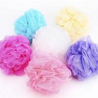 Wholesale Bathroom Balls - Wholesale-5PCS Multi Color Bath Balls Body Exfoliate Puff Sponge Mesh Shower Balls Bath Puff Bathroom Body Bath Shower