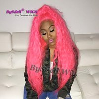 Wholesale american curls hair - Synthetic Heat Resistant Lace Front Wig Solid Pink Color Loose Water Curly pelucas Bravo Beauty Curl Hair African American Lace Front Wigs