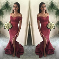 Wholesale Pictures Tires - 2017 Cranberry Mermaid Prom Dresses Off the Shoulder Split Front Sparkling Sequin Evening Gown Sexy Burgundy Tired Skirts Court Train BA1066