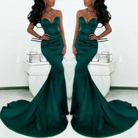 Wholesale Long Sleeve Sexy Gown Fishtail - Gorgeous Sweetheart Long Emerald Green Mermaid Evening Gowns 2017 Satin Fishtail Special Occasion Prom Dresses For Women