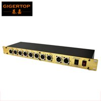 Wholesale light independent for sale - Group buy 8 Way DMX Signal Distributor Led Stage Lighting Control Road Distribution Amplifier Gold Color Iron DMX Con independent Power TP D07