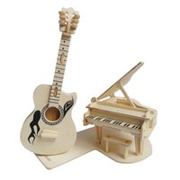 Wholesale 3d Puzzle Guitar - 3D Wooden Construction Jigsw Puzzle Kids Educational Woodcraft DIY Kit Toy Simulation Models Piano and Guitar 1T0045-jitagangqin