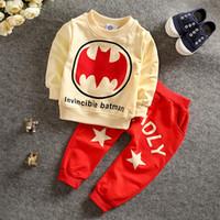 Wholesale New Kids Suits - New Boutique Korean Batman Outfits Baby Boy's Cartoon Outwear Sets Batman Homewear Sleepwear 2pcs set Tracksuit Kids Clothing Suit