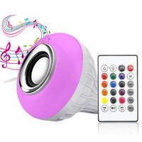 Wholesale mp3 player speaker remote online - Wireless Bluetooth Speaker W Power E27 LED rgb Bulb Light Lamp Music Playing RGB Lighting with Remote Control with Retail Package
