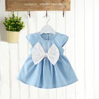 Wholesale Infant Girl Denim Dresses - Korean styles baby girl short sleeve dress New Arrivals o-enck back with bow denim infant girl dress 2 colors