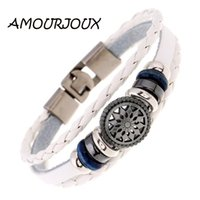 Wholesale leather bracelets resale online - BEIJIA Pattern Charms Braided Brown White Black Leather Wristband Bracelet For Women Men Charm Bracelets Male Female