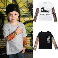 Wholesale Tattoo Sleeve Children - Boy Clothes Cotton Tattoo T-shirt Long Sleeve Children Cartoon Tee Shirts Novelty Tattoo Sleeve Baby Boys Tops Spring & Autumn Kids Clothes