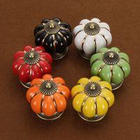 Wholesale Ceramic Knobs For Cabinets - Ceramic Vintage Door Knobs Cabinet Pumpkin Drawer Handles for Kitchen Cupboards