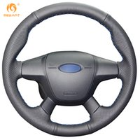 Wholesale Ford Focus Wheels - Mewant Black Genuine Leather Steering Wheel Cover for Ford Focus 3 2012-2014 KUGA Escape 2013-2016