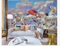Wholesale Oil Painting Horses Racing - Horse Racing Oil Painting Art Background Mural mural 3d wallpaper 3d wall papers for tv backdrop