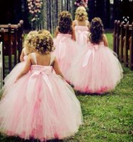 Wholesale Kid Fur Skirt - Baby Pink Formal Little Flower Girl Dresses Lace Kids Tutu Skirts Bow Sash Spathetti Ball Gown Flower Girl Dress