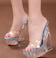 Wholesale Hot Sexy Wedges - New Arrival Hot Sale Specials Super Influx Banquet Summer Princess Fine Bohemian Sexy Transparent Crystal Slope Wedge Slippers EU34-40