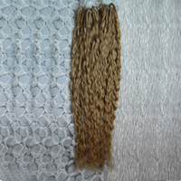 ingrosso capelli cinesi vergini ricci e ricci-Estensioni dei capelli ricci biondi vergini biondi ricci micro perline 200 g estensioni dei capelli ricci micro crespi 1 g / s 200 s