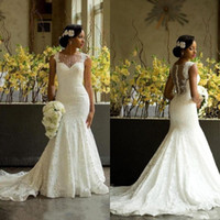 Wholesale African Wedding Lace - Luxury African Mermaid Wedding Dresses 2017 Amazing Sheer Jewel Neck Back Covered Buttons Bridal Gowns Chapel Train Lace Wedding Gowns