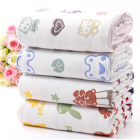Wholesale Newborn Gauze Wraps Wholesale - 2017 NEW Baby kids swaddling Soft 6layers of cotton gauze Newborn Muslin Baby Wrap blanket Bath towel Quilt Ventilation