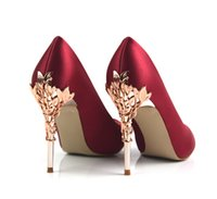 Wholesale 34 Sleeve Wedding Dress - New 10cm Metal Sleeves High Heels Silk Special PU Leather Women Pumps Shallow Sexy Party Woman Shoes Size 34-39