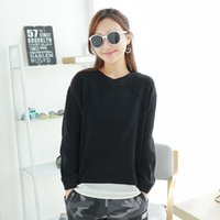 Wholesale Splice Round Neck Shirt - 2017 New Fake two pieces Splicing Women Sweaters Spring Autumn casual women tops fashion round Neck beautiful girl shirts