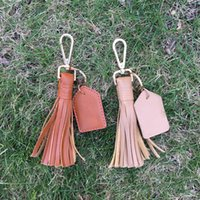 Wholesale Metal Tassel Charms Wholesale - Flat Leather Tassel Key Fob Tie Up Tassle Keychain With Metal Bag Hook Bag Charm with One PU Tag for Monogramming DOM106427