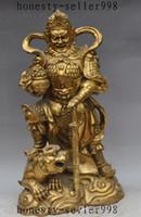 Wholesale Treasure Bowl - Chinese Brass Wealth Treasure bowl tiger Mammon Jambhala Warrior God Statue