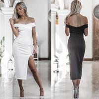 vestido de peito aberto sexy venda por atacado-Alta qualidade primavera e verão moda nova quente sexy corte peito aberto vestido LX001