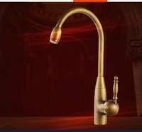 types led lighting 2018 - Full copper antique faucet antique retro kitchen hot and cold faucet kitchen faucet leading basin Free Shipping