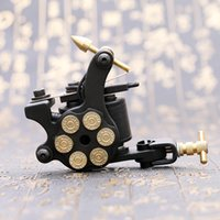Wholesale Compass Tattoo Machines - 1PC Professional Compass Black Tattoo Machine Shader & Liner Steel Frame Copper Coils Tattoo Gun TM2381