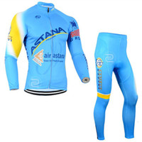 Wholesale Cheap Team Jersey Sets - 2017 Tour de France ASTANA Men's cycling jersey pro team long sleeve bib pants sets MTB Bicycle Clothing Outdoor cheap-clothes