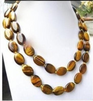Wholesale Tigers Eye Oval Stones - LONG 32 INCHES GENUINE NATURAL TIGER EYE GEMS STONE OVAL BEADS NECKLACE