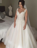 Wholesale Korean Wedding Dress Image - Korean Wedding Dress 2017 Free Shipping Vestido De Noiva Estilo Princesa Deep V-Neck Ball Gown Wedding Dresses with Cap Sleeves
