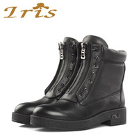Wholesale IRIS Genuine Leather Motorcycle Boots Women Black Low Heels Short Boots Handmade High Quality Flat Woman Ankle Boots New