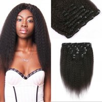 120g Kinky Straight Human Hair Clip in Virgin Indian Remy Grampo de cabelo na extensão para mulheres negras FDSHINE