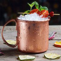 Wholesale Milk Glass Coffee - Hammered Copper Mug Moscow Mule Mugs Stainless Steel Beer Cup Milk Coffee Cups Water Glass Drinkware OOA1959