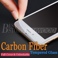 Wholesale Cover Iphone Film 3d - New For iPhone 6 6S 7 Plus Carbon Fiber Soft Edge Tempered Glass Screen Protector Full Cover Film Anti Scratch 3D Curved
