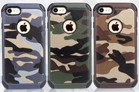 Wholesale military phone covers - Military Camouflage For iPhone 7 Case Navy Army Camo Hard Plastic Cover + Soft TPU Armor Phone Case For iPhone 7 plus