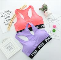 Wholesale Wholesale Push Up Bars - VS Love Pink Women Sports Bra Running Yoga Vest Shirts Victoria Sexy Shakeproof Gym Fitness Bra Push Up Elastic Crop Tops Bars