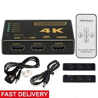 Wholesale Hdtv Ports - HDMI Splitter Switch Box Ultra HD 5 Port 4K 3D 1080P IR Remote Control Selector 5 in 1 Extender For HDTV 1080P Vedio