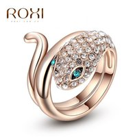 Wholesale Snake Wedding Rings - ROXI Brand Classic Crystal Zirconia Wholesales Rose Gold Plated Snake Ring Women Party Wedding Finger Rings Jewelry Size 6 7 8