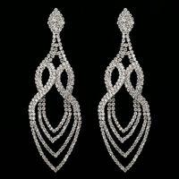 Wholesale Crystal Chandeliers China - Top Quality Simple Spiral Shape Big Statement Earrings Female Bling Rhinestone Long Hanging Water Drop Earrings Pending Jewelry