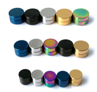 Wholesale candy stud earrings - magnetic circle fashion fake earring mix candy color 24pcs lot 6mm round stud earring magnetic earrings