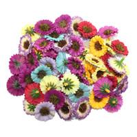 marguerites de bouquets de mariage artificiels achat en gros de-Gros-100pcs / lot 3cm tête de haute qualité multicolore tissu artificiel mariage fleur / marguerite bouquet bouquet scrapbooking
