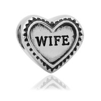 Wholesale Wife Black - comejewelry Heart Aunt,Daughter,Wife,Grandma Fit Pandora European Style Big Hole Beads for Bracelet for Jewelry Making for Mother's day