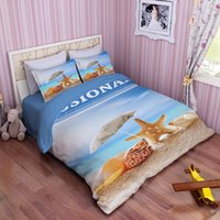 Wholesale Starfish Duvet Cover - Ocean Beach Starfish Conch Bedding Set Blue Sea Duvet Cover Bed Sets Twin Full Queen King Size 3pcs Bedding