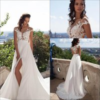 Wholesale Sexy Black Sheer Tops - 2016 Sexy Illusion Cap Sleeves Lace Top Chiffon A Line Wedding Dresses Tulle Lace Applique Split Summer Beach Bridal Gown With Buttons