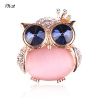 Wholesale Owl Accessories For Girls - Wholesale- Lovely RHao Rhinestone Owl Brooches pins for women wedding bouquets jewelry accessories cute animal brooches for girls gift