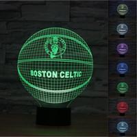 Wholesale Light Fan Colors - 2pc 2017 Baseball Fan 3D Night Light Touch Button Colors Change LEDTable Lamp Gift Mix Order Custom Any LED Light Basketball Light